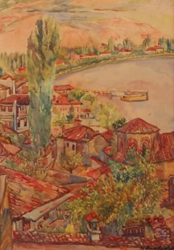 Milica Milić Milivojević (1889-1963) Ohrid 1920, oil on canvas