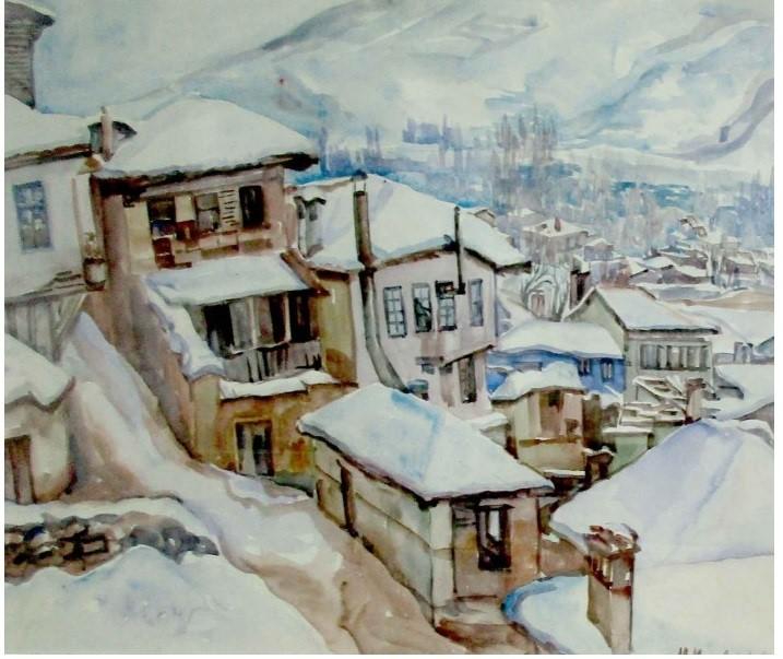 Milica Milić Milivojević (1889-1963) Ohrid 1920, watercolor