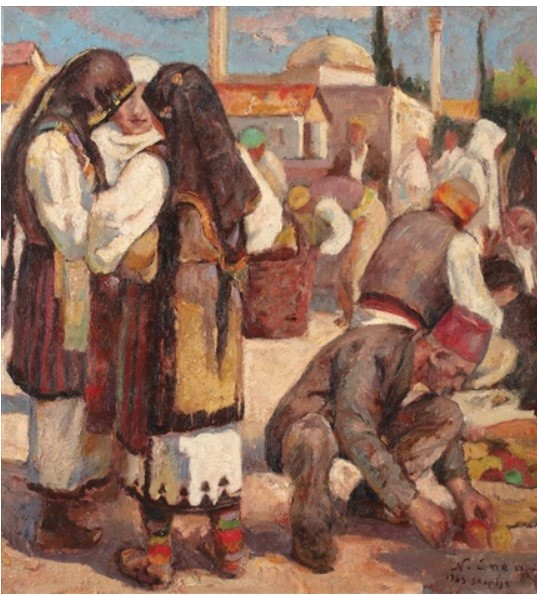 Nicu Enea 1897-1960 Fair in Skoplje 1933 oil on canvas 1927