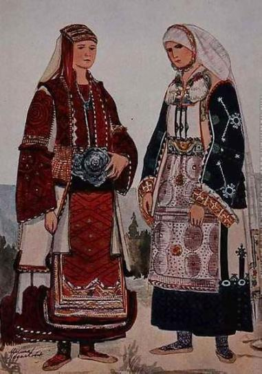 Nikola Arsenović (1823 -1885), Macedonian women, watercolor