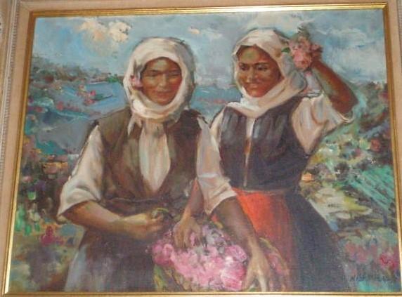 Nikola Blazev (1913 -1974),Macedonian Girls (~1950) oil