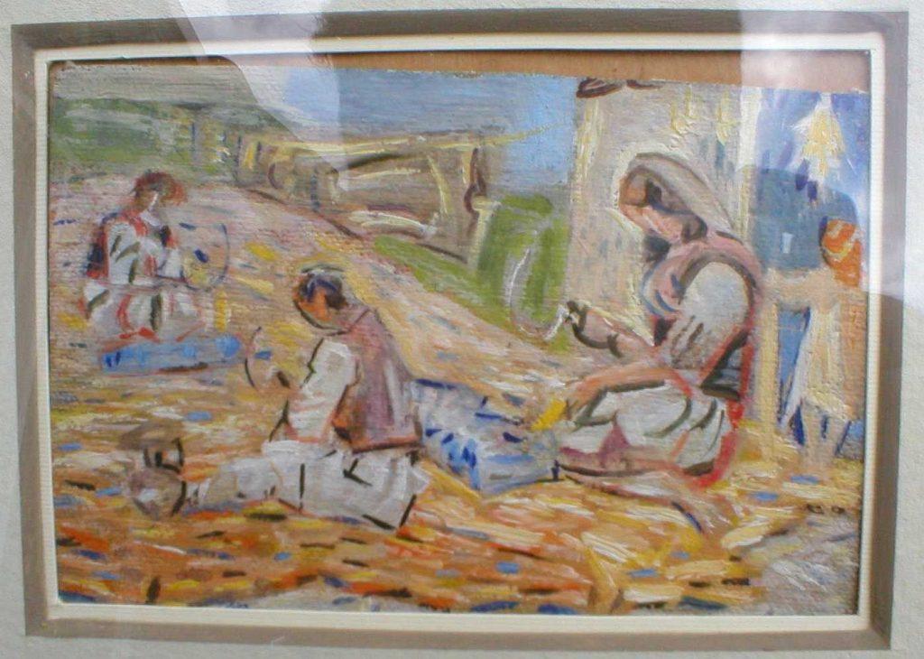 Македонски селани, масло на картон