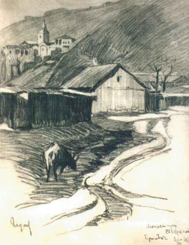 Nikola Tanev 1890 -1962 St. Arhangel Monastery Prilep 1916 graphite