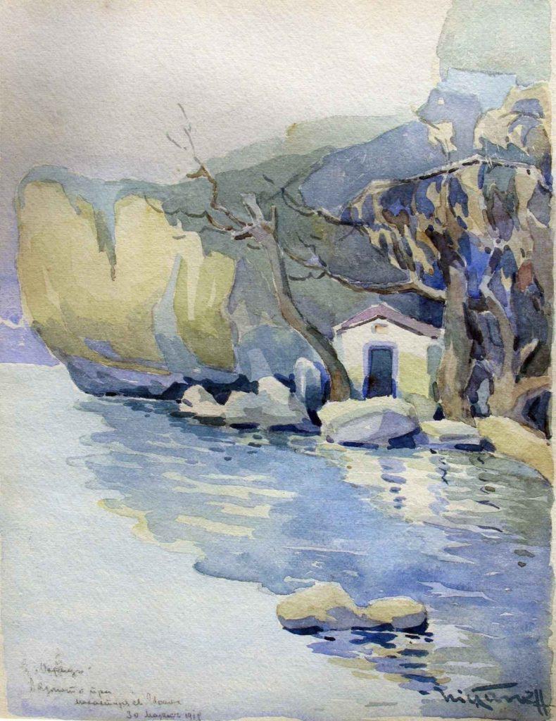 Nikola Tanev 1890 -1962 St.Ioan Monastery on the Ohrid Lake 1918 watercolor