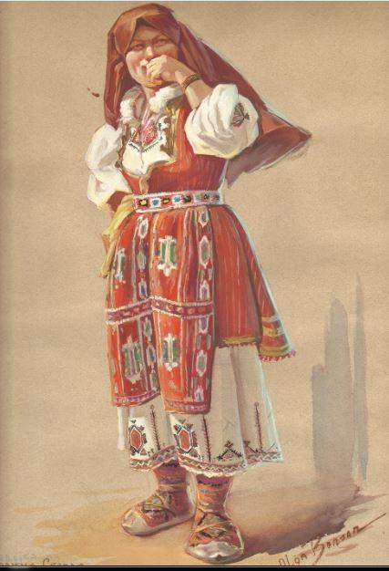 Olga Benson (1887-1977) Macedonian Folk Dress, 1930, watercolor