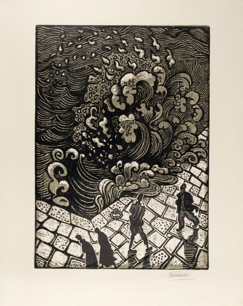 Otto Pankok (1893-1966) Пристаниште во Охрид 1955, одпечаток со дрво