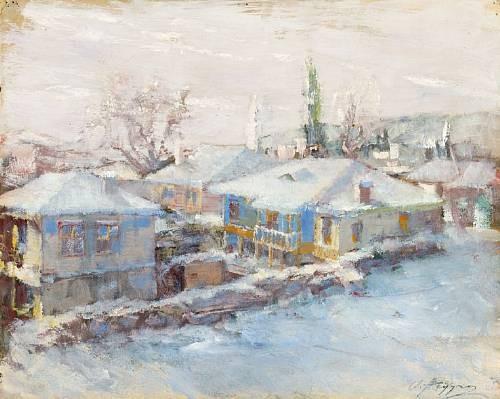 Oumbertos Argyros (1882 -1963), Snowy Village, Macedonia