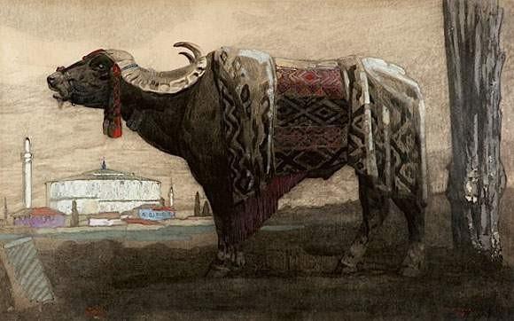 Paul-Jouve1880-1973-Buffe-Macedonine-1917-gouache