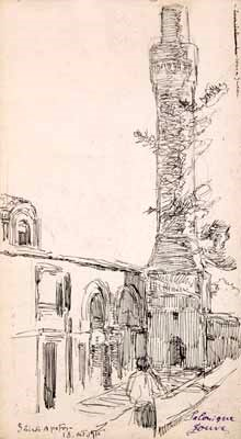 Paul-Jouve1880-1973City-scenes-from-Salonika-Macedonia-1916-pencil-and-Chinese-ink