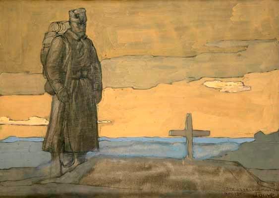Paul-Jouve1880-1973Serbian-Soldier-near-a-tomb-Monastir-Bitola-1916-watercolor-pencil