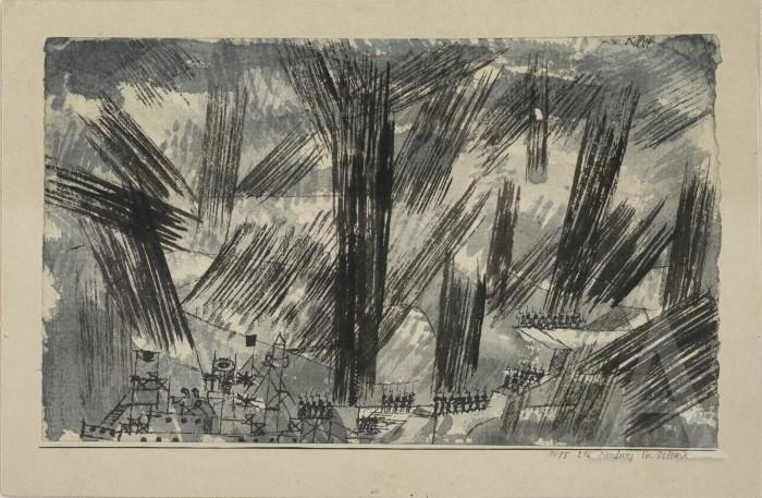 Слетување во Солун 1915, акварел