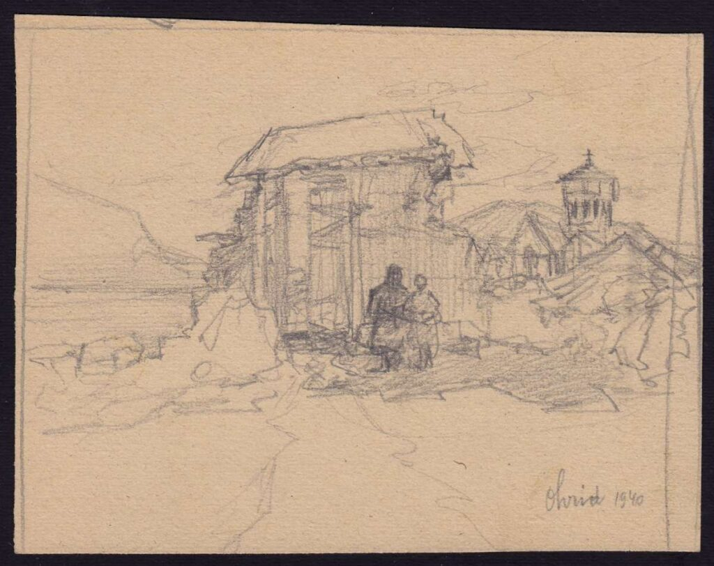 Pavle Ruzicka (1888-1965) Ohrid 1940, pencil drawing
