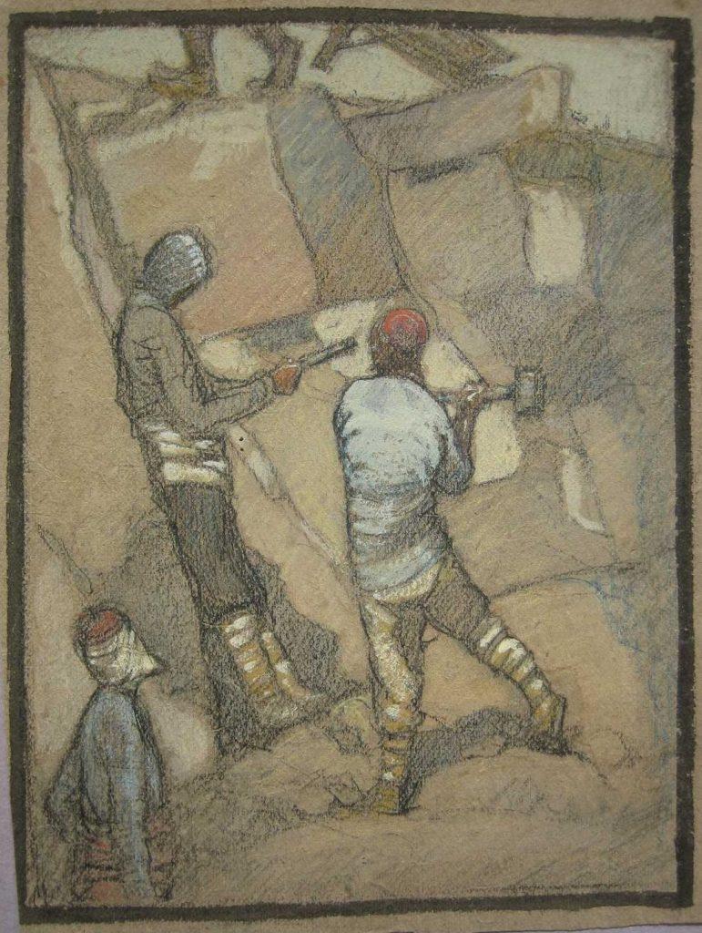 Сцена од рововскиот живот на Солунски фронт, 1916, пастел