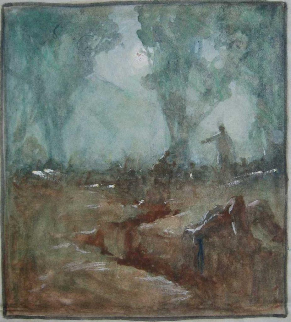 Линија на фронтот во Солун 1916, акварел