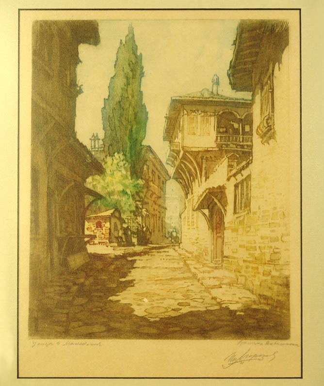 Petar-Morozov-1880–-1951-Street-in-Macedonia-color-aquatint-1930