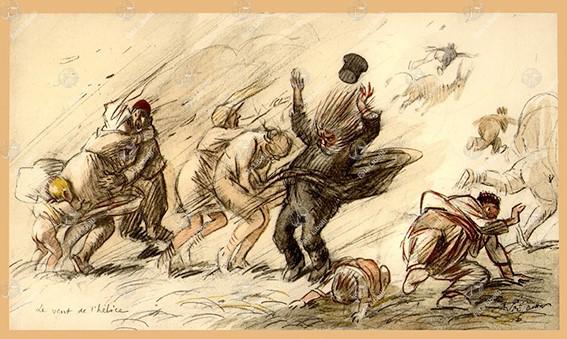 René Préjelan (1877-1968) The Wind of the propeller, Thessaloniki 1916, watercolor