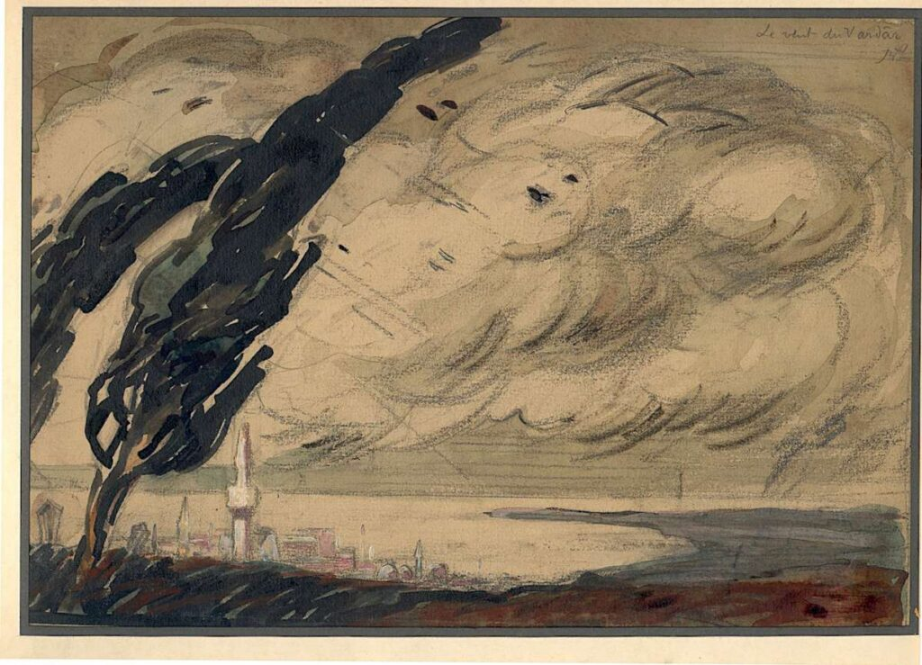 René Préjelan (1877-1968) Wind from Vardar near Thessaloniki 1916, watercolor