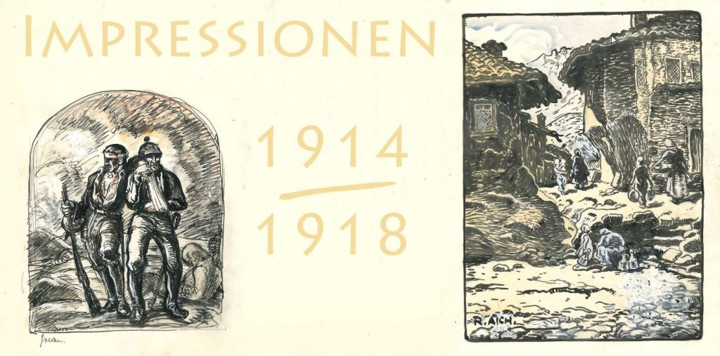 Richard Aich 1886 1975Impressions 1914 18 Exhibition of this WW1 drawings Sulzfeld Germany