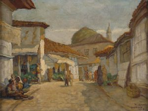 Richard Aich 1886 1975-Skopje Ueskueb market 1918 oil on canvas