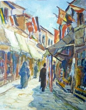 Richard Gessner 1894-1989 Turkish market street decorated for St.-Cyril holiday Uskub 1917