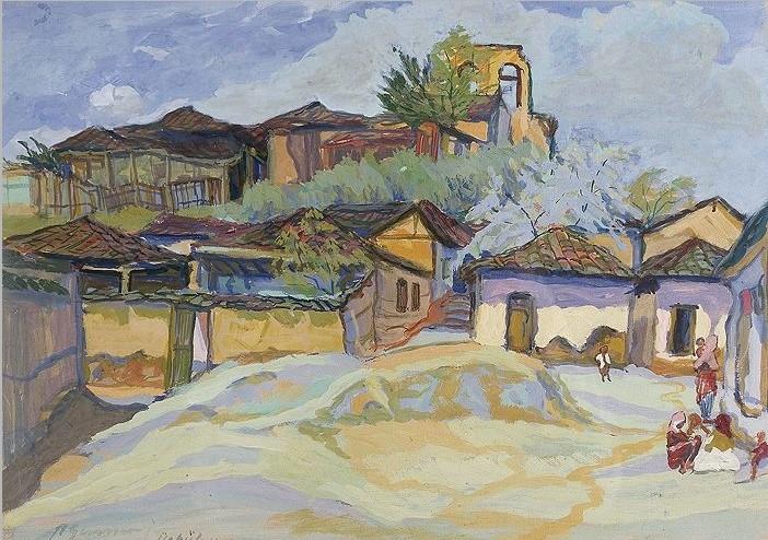Richard Gessner 1894-1989 Uskub Mazedonien 1917gouache