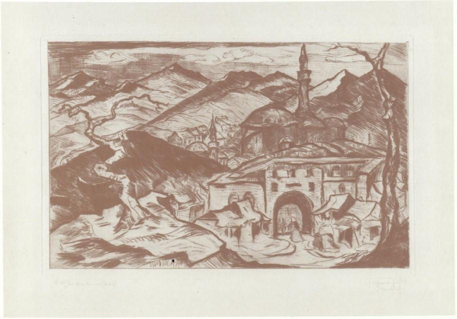 Richard Gessner 1894-1989Aus Mazedonien Uskub 1919 etching