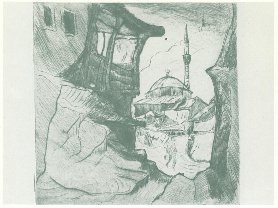Richard Gessner 1894-1989 Aus Mazedonien Uskub Moschee1917 etching