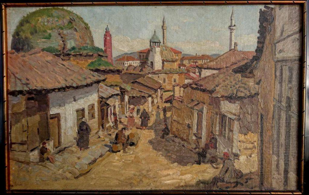 Robert Haag 1886-1955 View of Skopje 1918 oil on panel