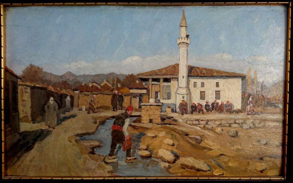 Robert Haag 1886-1955 View of Prilep 1918 oil on panel