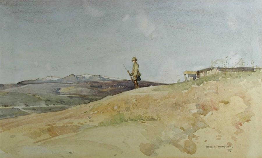 """Војник од Британската """"Црна Стража"""" на служба, Солун 1917, акварел."""