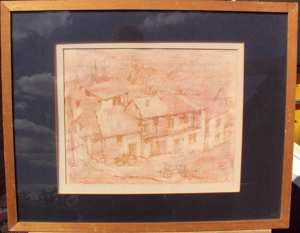 Куќи во Охрид, акварел