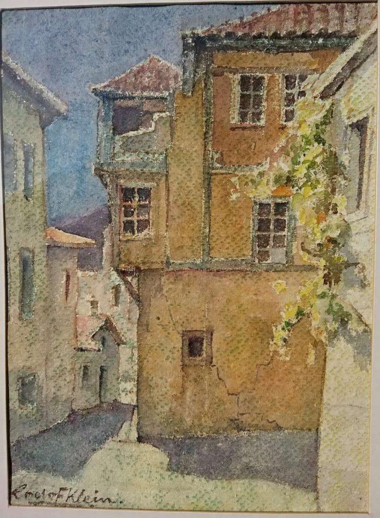 Roelof Klein (1915-1981) Street in Ohrid watercolor