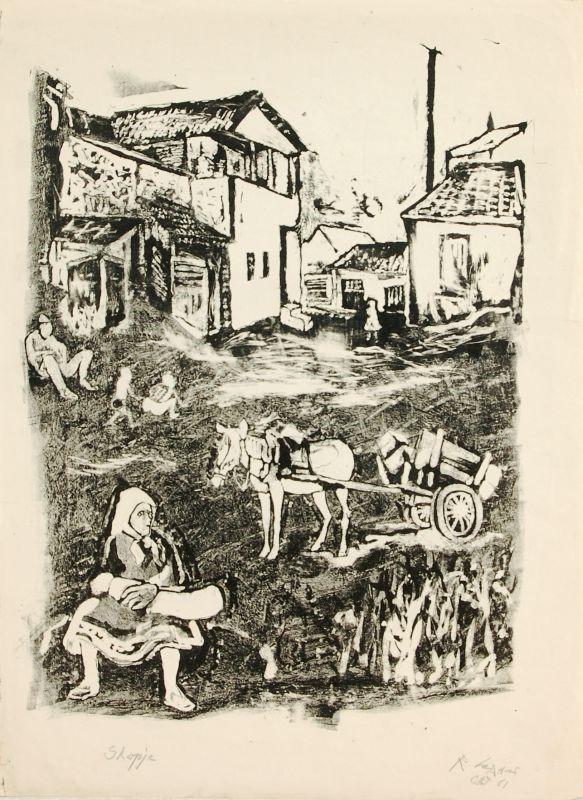 Rudi Lesser (1901 – 1988) Скопје, литографија