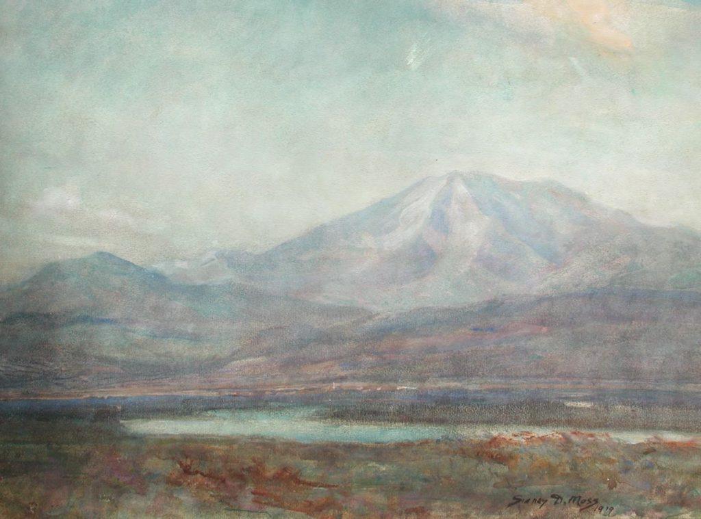 Поглед на долината Струма, со планината Беласиц во позадина 1919, акварел