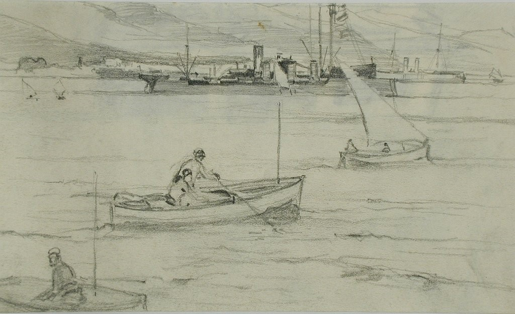 Солунскиот залив 1917, цртеж со молив