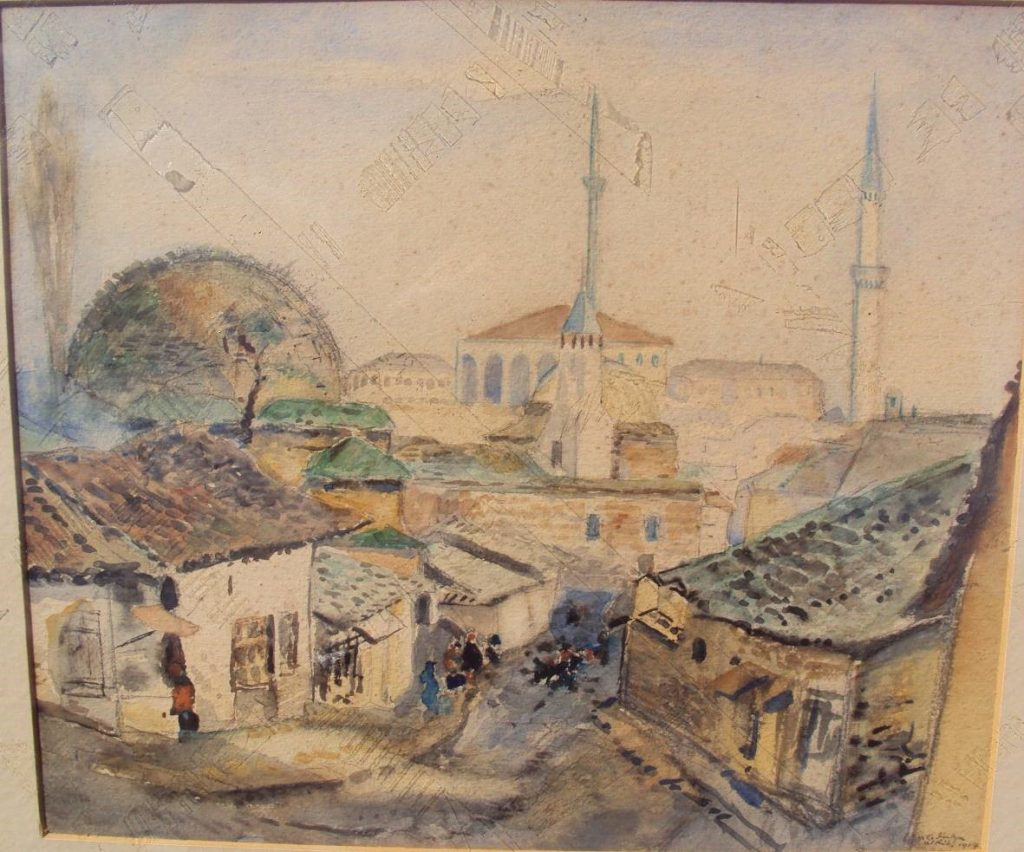 Skopje-View-at-old-bazaar-1916-њатерцолор