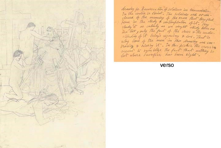 Stanley-Spenser-1891-1959-Resurrection-for-Soldiers-Macedonia-1916-pencil