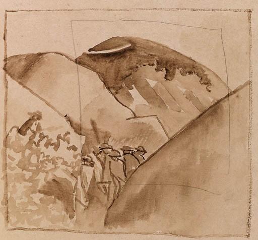 Воена студија на војници и Војниците си ги перат алиштата, Македонија 1916, молив
