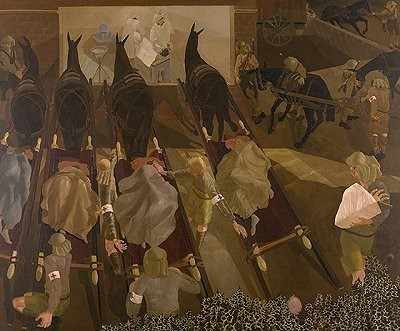 Stanley-Spenser-1891-1959-Travoys-arriving-with-wounded-at-a-Dressing-Station-at-Smоl-Macedonia-1916