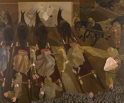 Носилата пристигнуваат со ранети на собирната станица во Смол, Македонија 1916 Во колекција на Империјалниот Воен Музеј, Лондон, масло на платно