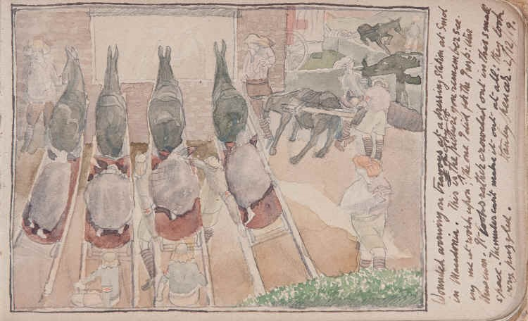 Stanley Spenser (1892-1957) Sketch for Dressing Station, Smol 1916, drawing