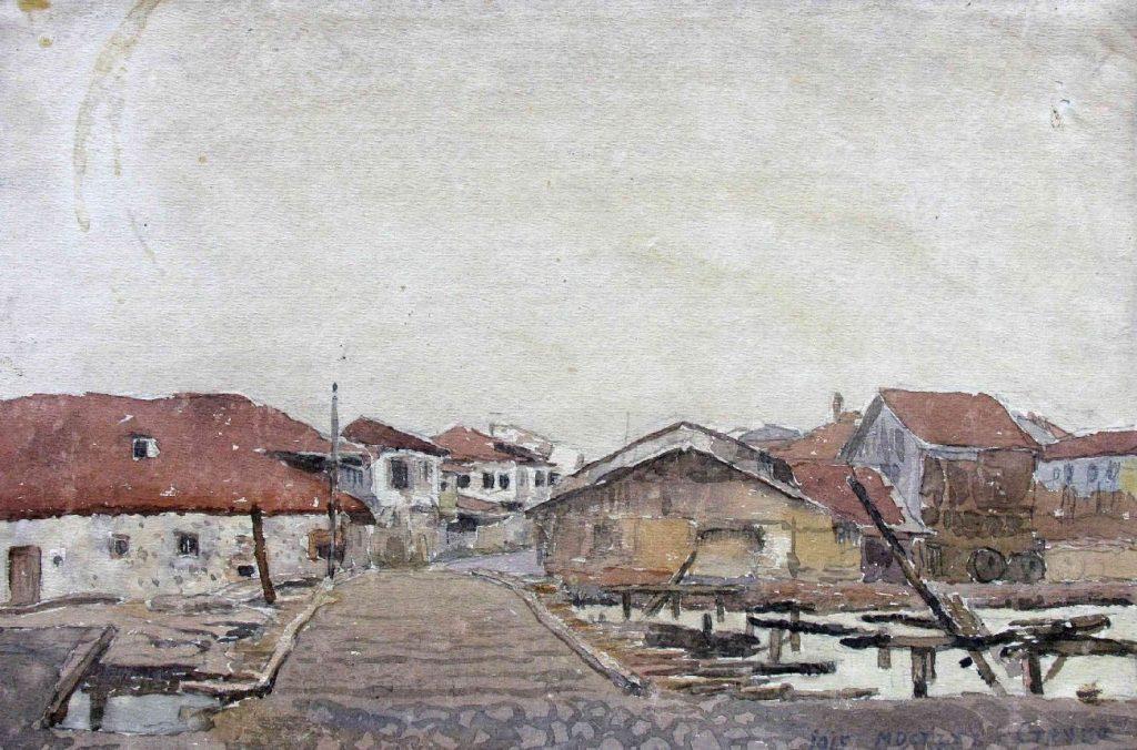 Stanyo-Stamatov-1887-1963-Bridge-in-Struga-1915-watercolor