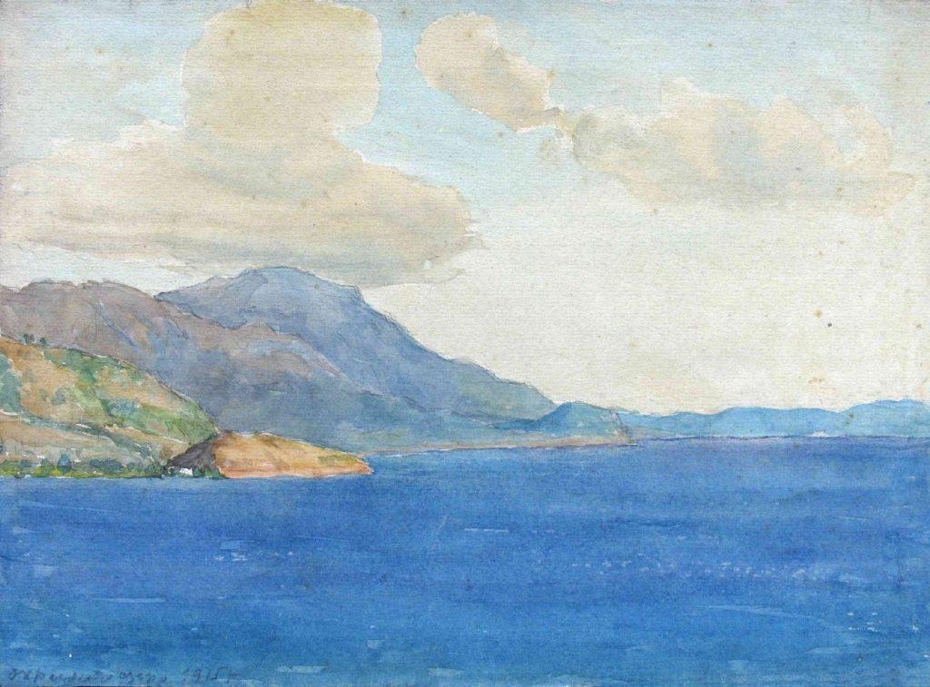 Stanyo-Stamatov-1887-1963-Lake-of-Ohrid-1915-watercolor
