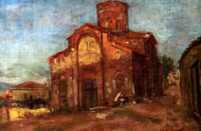 Stanyo-Stamatov-1887-1963-The-Chirch-of-Saint-Naum-1942-Oil-panel