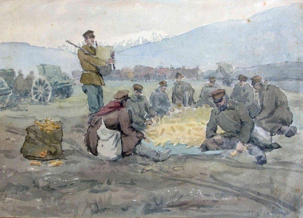 Stanyo-Stamatov-1887-1963-Village-of-Isvor-watercolor