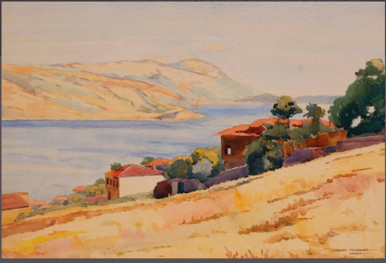 Strahil Titirinov (1905-1961) Ohrid Lake, 1941, watercolor