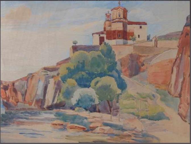 Strahil Titirinov (1905-1961) Ohrid, St John of Kaneo church, 1941, watercolor
