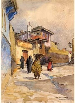Street in the Turkish quartier, Salonika 1917
