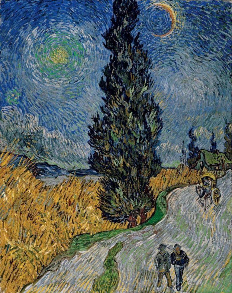 """Винсент ван Гог (1853-1890), """"Пат во ноќта со месечина"""" Арл (Arles), Франција 1890"""