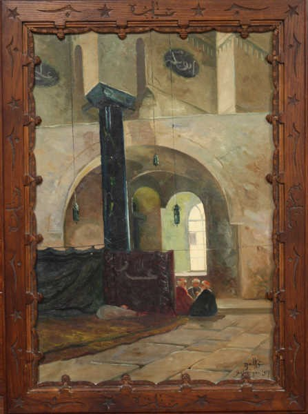 Theodor Charles Balke ((1875 -1951),Inside a mosque in Salonica 1917 oil-canvas